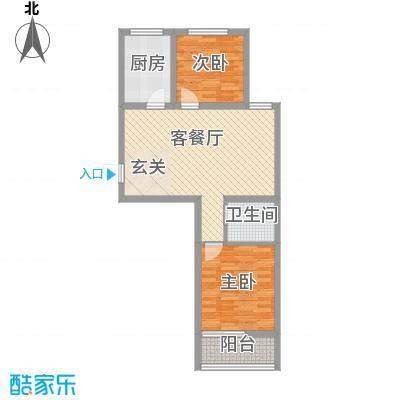 润福家园85.00㎡一期住宅C户型2室2厅1卫1厨