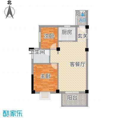广隆海尚首府81.00㎡一期1、2#L户型2室2厅1卫2厨