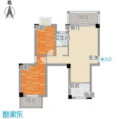 广隆海尚首府88.00㎡一期1、2#A户型2室2厅1卫1厨