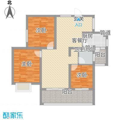 凤凰花园114.00㎡标准层D户型3室2厅1卫1厨