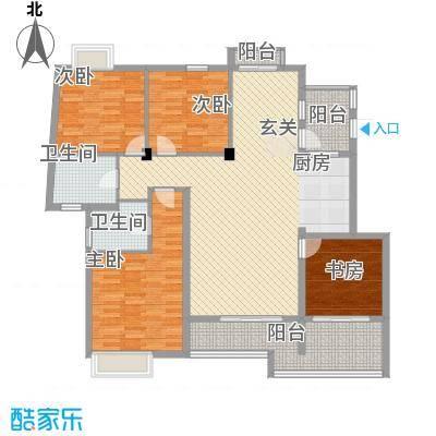 嘉凯城太湖阳光假日137.00㎡花园洋房宽景平层户型4室2厅2卫1厨