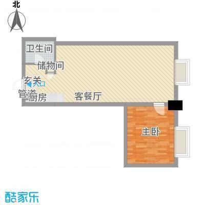 港汇中心77.71㎡1#楼B户型1室1厅1卫1厨