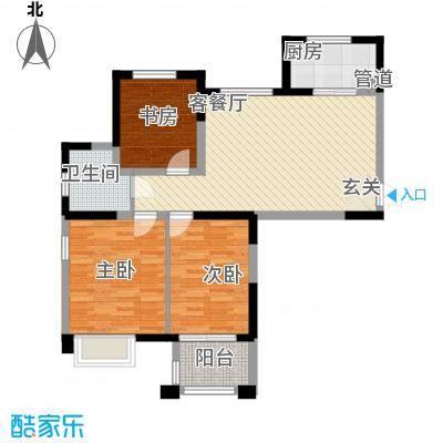 金山福地12.00㎡A1户型2室2厅1卫1厨