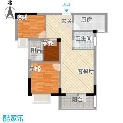 学府丽城4号楼E户型3室2厅1卫1厨