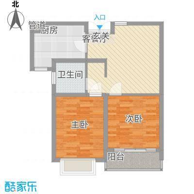 天颐郦城78.83㎡c-2户型2室1厅1卫1厨