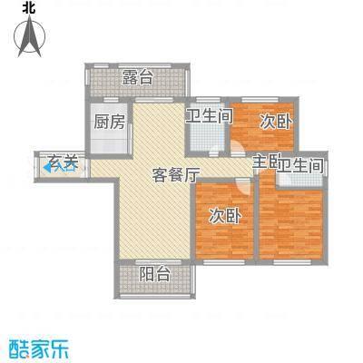 蓝柏湾135.00㎡高层B1B3号楼东户D户型3室2厅1卫1厨