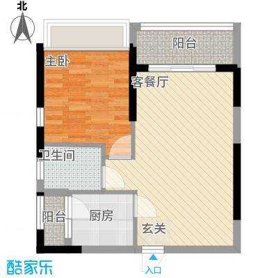 庄士8号56.00㎡9栋标准层02户型1室2厅1卫1厨