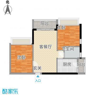 庄士8号76.00㎡9栋标准层03户型2室2厅1卫1厨