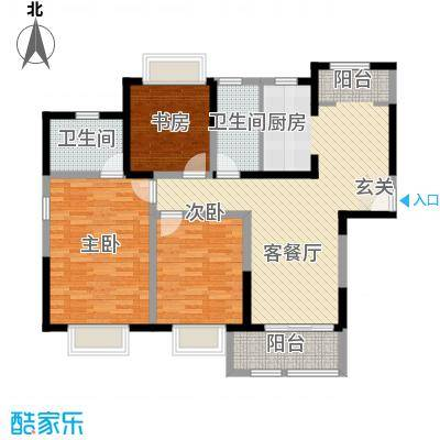 万福世家128.00㎡高层G1户型3室2厅2卫1厨