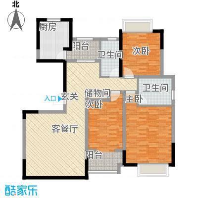 万福世家147.00㎡高层G3户型3室2厅2卫1厨