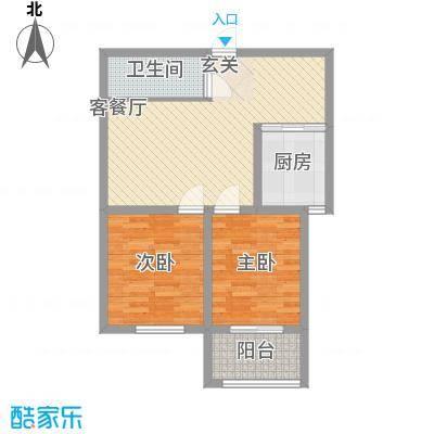 骏龙花园82.76㎡二期10#E户型2室2厅1卫1厨