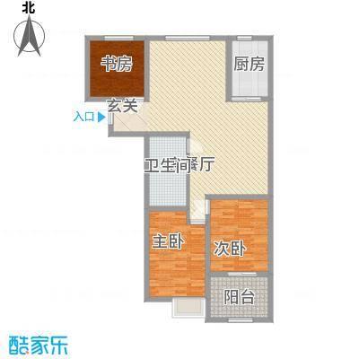 骏龙花园126.84㎡二期10#D户型3室2厅1卫1厨
