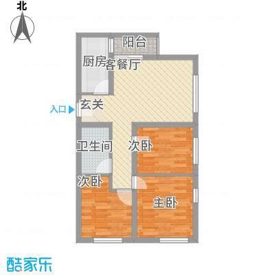 景寓学府81.58㎡一二期9号楼C户型3室2厅1卫1厨