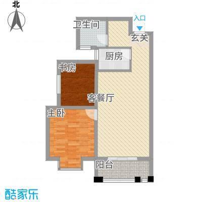 景寓学府82.67㎡5、6号楼C1户型2室2厅1卫1厨