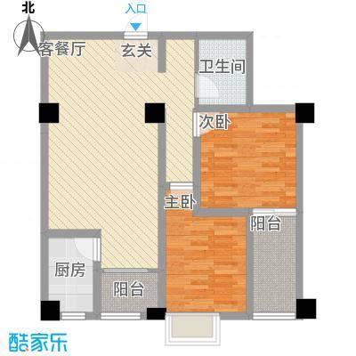 景寓学府86.80㎡1#2#B4户型2室2厅1卫1厨