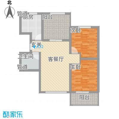 龙TOWNA6A12楼D4户型2室2厅1卫1厨