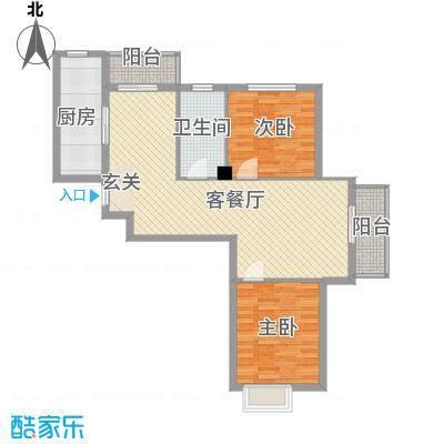 湾德里华府8.82㎡6#、7#楼I户型2室2厅1卫1厨