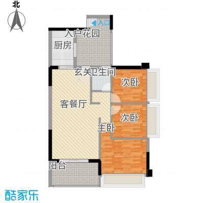 侨城水岸1、3栋04户型3室2厅2卫1厨