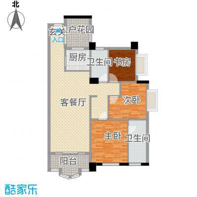 御峰臻品117.00㎡一期3栋标准层03/04户型3室2厅2卫1厨