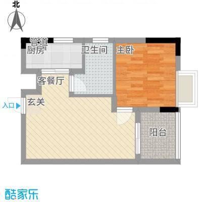 金融广场首座43.23㎡一期2-B号楼标准层B3户型1室1厅1卫