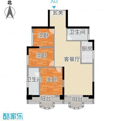 御峰臻品124.00㎡一期4栋标准层03户型3室2厅2卫1厨