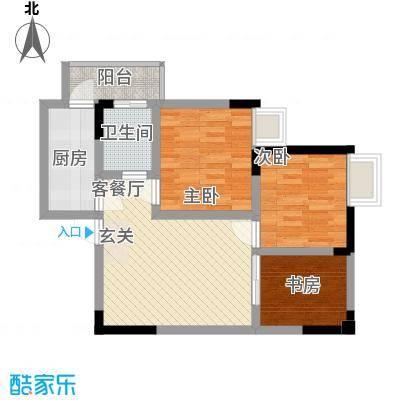 金融广场首座56.60㎡一期2-B号楼标准层B2户型2室2厅1卫