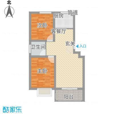 德霖臻和园82.71㎡一期多层6#楼A1户型2室2厅1卫1厨