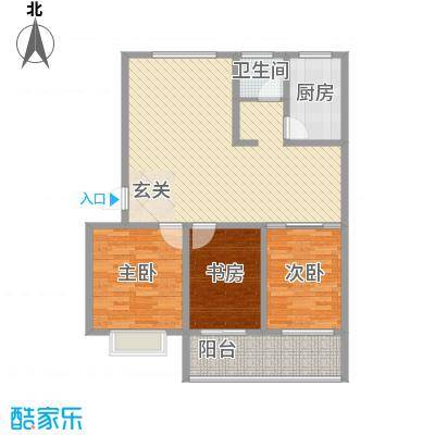 华安东方明珠124.00㎡一期29号楼户型3室2厅1卫1厨