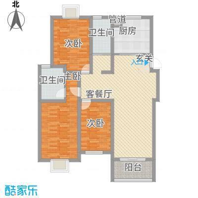 扬州印象花园133.00㎡B5户型3室2厅2卫1厨
