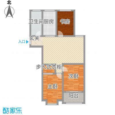 荔水湾117.00㎡高层13号楼C户型3室2厅1卫1厨