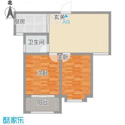 荔水湾86.00㎡高层13号楼2B户型2室2厅1卫1厨