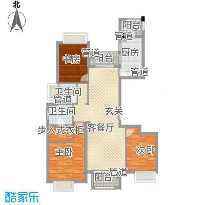 清华世界城14.00㎡D户型3室2厅2卫1厨
