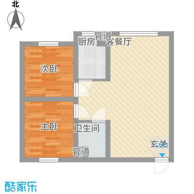 颐和花园65.50㎡标准层户型2室2厅1卫1厨