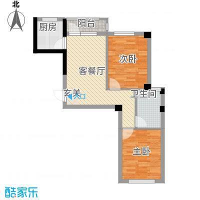 心海阳光67.20㎡2号楼B3户型2室1厅1卫1厨