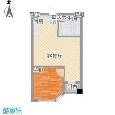 悦泰街里项目56.00㎡8号楼B2户型1室1厅1卫1厨