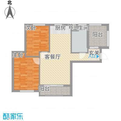 宇圣明珠88.00㎡B1号楼A户型2室2厅1卫1厨