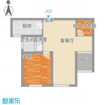 清平花园82.58㎡高层27#B户型1室2厅1卫1厨