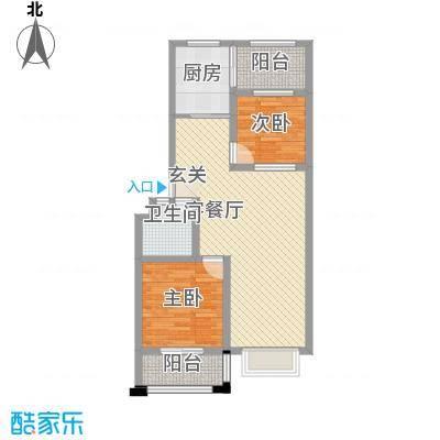 清平花园88.40㎡多层26#E户型2室2厅1卫1厨