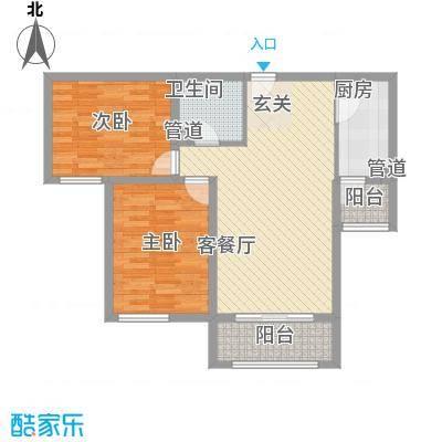 龙TOWN88.00㎡A10/A11楼F2户型2室2厅1卫1厨