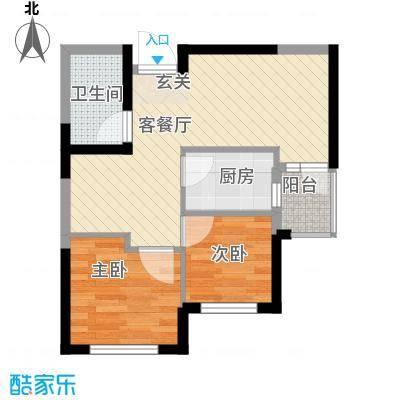 心海阳光67.54㎡3号楼B户型2室2厅1卫1厨