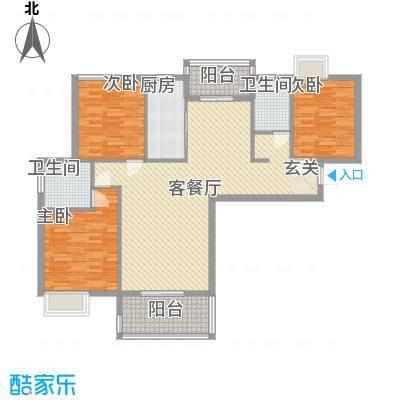 东方国际花园114.67㎡D户型3室2厅2卫1厨