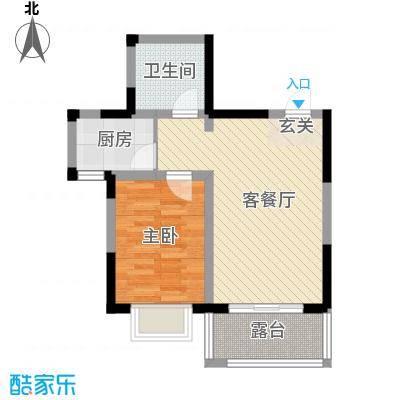 芳清苑58.10㎡3#E户型1室2厅1卫1厨