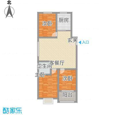 四建金海花园117.00㎡6#10#楼F户型3室2厅1卫1厨