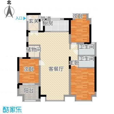 阿尔卡迪亚文承苑143.80㎡20#B户型3室2厅2卫