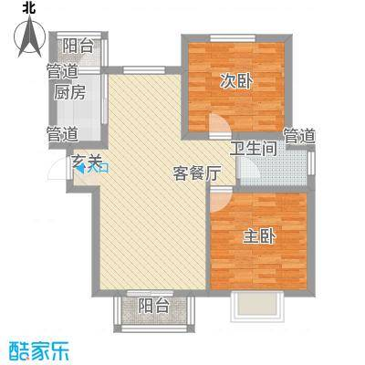 浩友凤凰城88.80㎡标准层B户型2室2厅1卫1厨