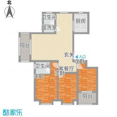 四建金海花园141.00㎡13#14#楼H户型3室2厅2卫1厨