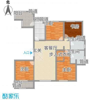 风格�院175.00㎡高层标准层J户型3室2厅3卫1厨