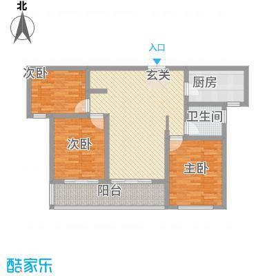 蓝柏湾115.00㎡高层B1B3号楼中间户C户型3室2厅1卫1厨