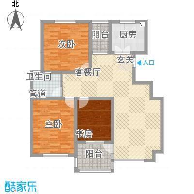 景泰园B2型户型3室2厅1卫1厨