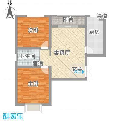 龙城天悦85.41㎡户型2室2厅1卫1厨